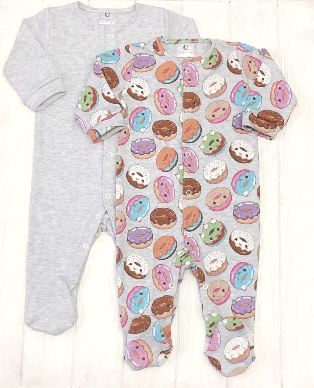 Яркий детский комплект из 2 единиц для новорожденного Человечков,слипов Пончики+меланж