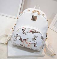 Белый рюкзак женский с цветами