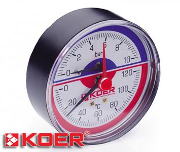 """Термоманометр аксиальный Koer 0-10 bar D-80мм 1/2"""" KM.802A"""