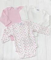 Комплект из трех бодиков  с длиным рукавом  для девочки сердечки+молочный+розовый