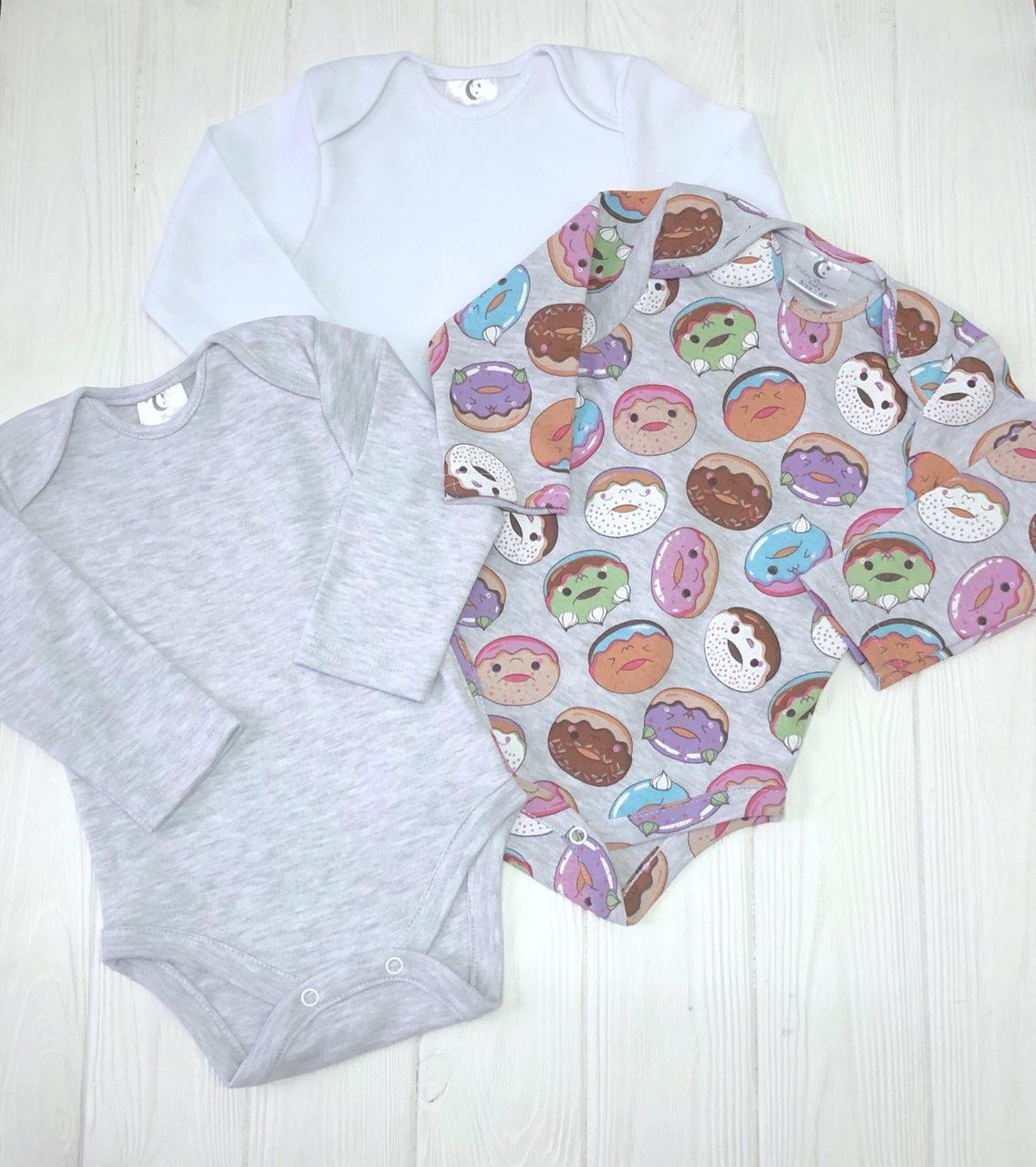 Комплект из трех бодиков  с длиным рукавом Пончики+меланж+белый