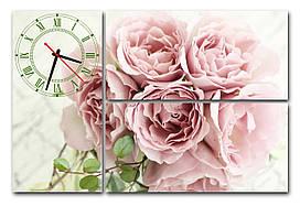 """Часы на стену модульные """"Букет роз"""" i 2  30x56 см каждый модуль)"""