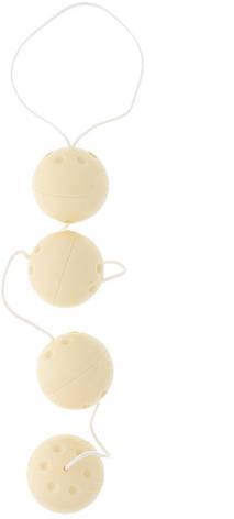 Вагинальные шарики Duotone Play Balls, телесные, фото 2