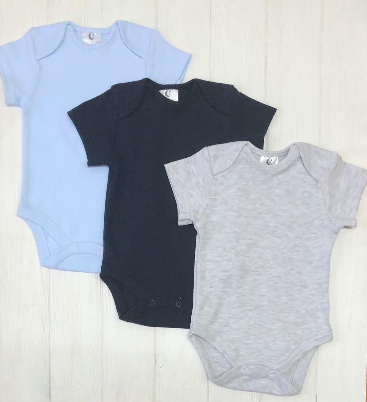 Комплект из трех бодиков  с коротким рукавом для младенца  Меланж+голубой+т.синий