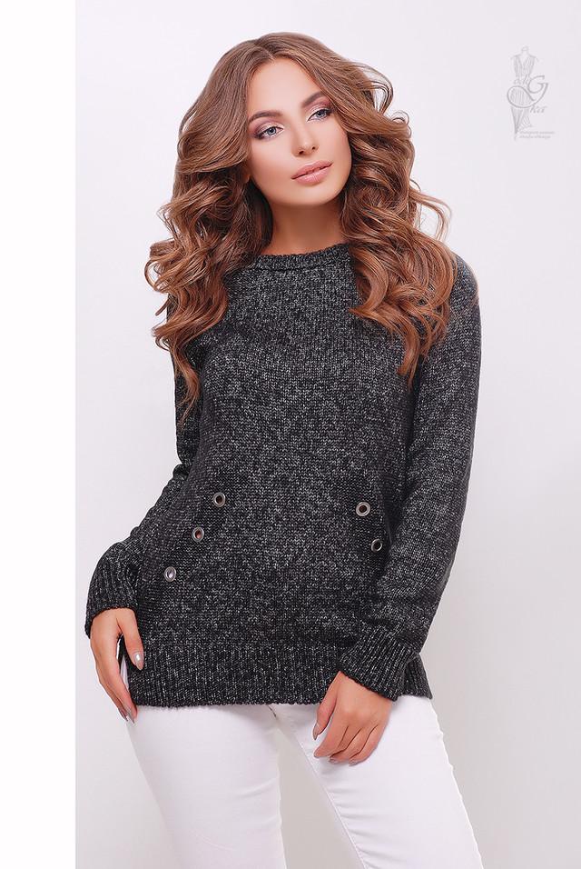 Цвет черный меланж Женского свитера из шерсти и акрила Нони