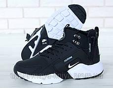 Кроссовки мужские на меху Nike huarache Black and White Реплика, фото 2