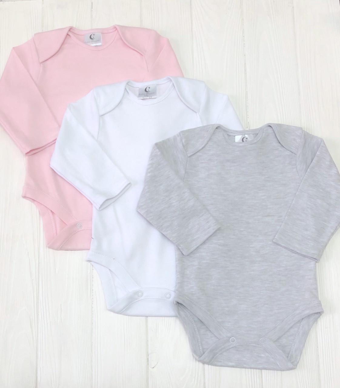 Комплект из трех бодиков с длиным рукавом 56-92р для девочки Меланж+розовый+белый