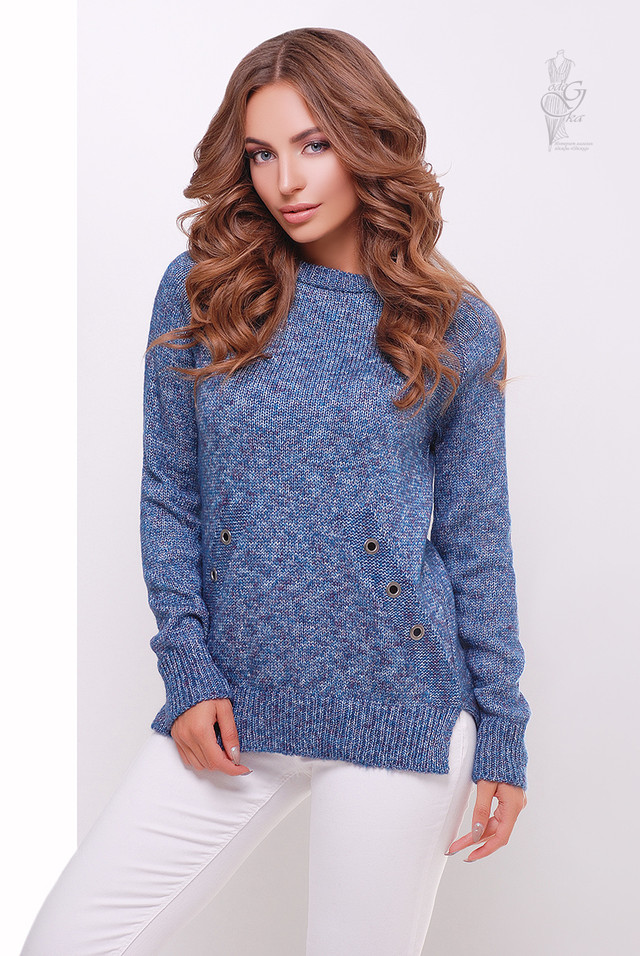 Цвет фиолетовый меланж Женского свитера из шерсти и акрила Нони