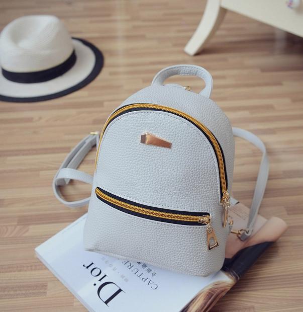 45327958026e Маленький рюкзак женский серый ПУ кожа - Интернет-магазин