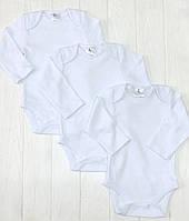 Базовый набор детскихбодиков  3 шт. с длиным рукавом Белый