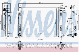 Радиатор системы охлаждения на Рено Логан II, Логан MCV, Степвей II 1.5dci, 1.6i 8V, 1.2i 16V / NISSENS 637627