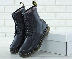 Женские зимние ботинки Dr Martens черные кожаные
