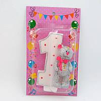 Свечка на 1 годик в торт для девочки с мишкой 11*7