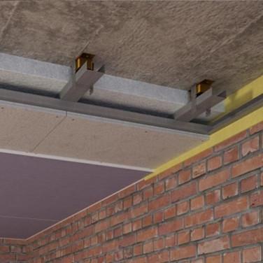 Каркасный звукоизоляционный потолок на виброподвесах (115 мм)