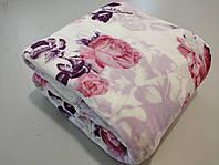 Микрофибровая простынь, покрывало Elway евро Розы на розовом