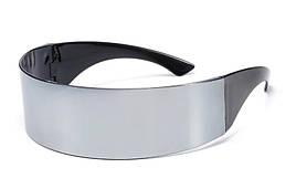 Футуристические солнцезащитные очки для мужчин и женщин, серебристые
