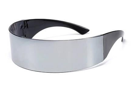 Футуристические солнцезащитные очки для мужчин и женщин, серебристые, фото 2