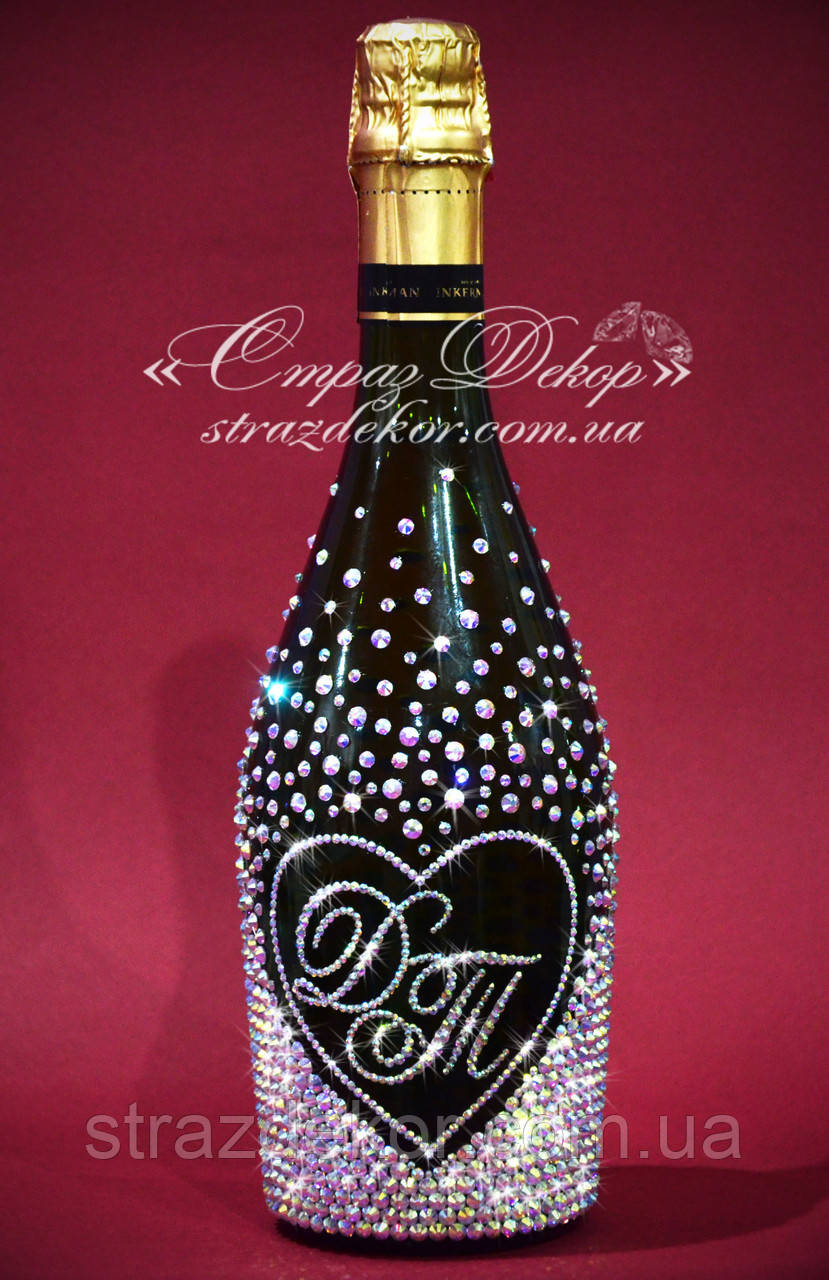 Свадебное шампанское с сердцем в стразах с инициалами, фото 1