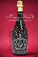 Свадебное шампанское с короной в стразах