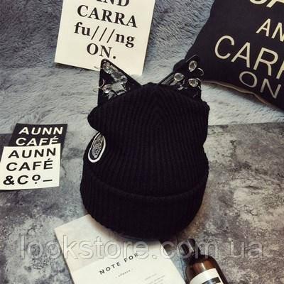 Женская вязаная шапка с ушками Кошечка черная