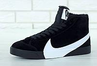 Кроссовки мужские высокие на меху замшевые черные от Найк Blazer Winter