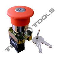 """Натискна кнопка управління """"Грибок"""" XB2-BS142 червона c фіксацією і ключем"""