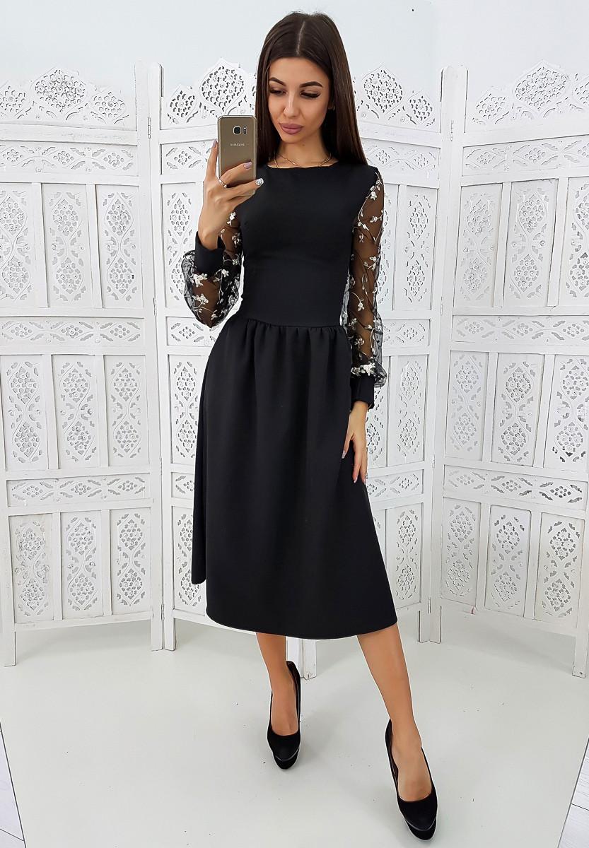 02ad28102bc Элегантное черное платье-миди с кружевными рукавами VL3449 S. Размер 42 -  Чулочно-