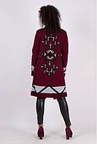 Модный кардиган женский вязаный с застежкой на брошь и принтом на спине размеры  42-50   , фото 3