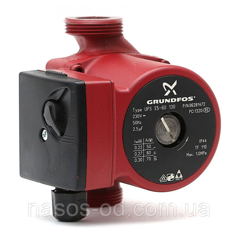 Циркуляционный насос Grundfos для системы отопления 15-6-130+гайка (874416)