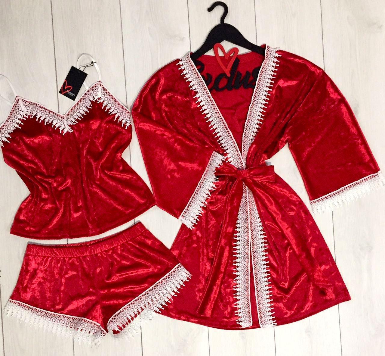 Красный велюровый  комплект для дома халат майка шорты