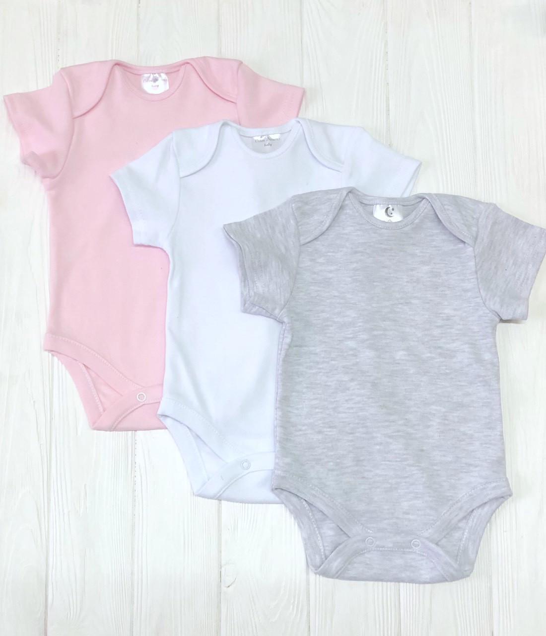 Комплект из трех бодиков  с коротким рукавом  для девочки Меланж+розовый+белый