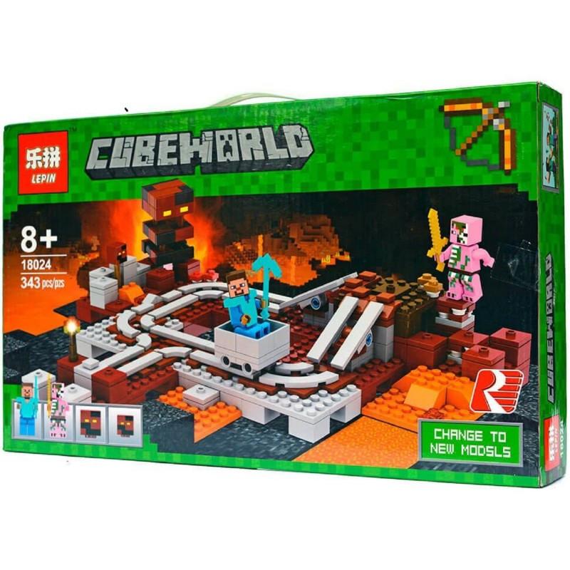 """Конструктор Minecraft """"Подземная железная дорога"""" Lepin 18024 343 деталей"""