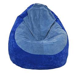 Безкаркасне крісло мішок Флок PufOn, L, Синій, Блакитний