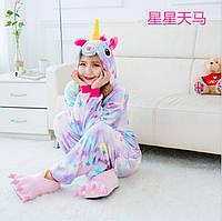 Детское кигуруми единорог (с звездами)  / пижама Кигуруми 100 см, фото 1