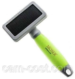 Пуходерка-сликер MOSER на черной основе средняя + силиконовая ручка (2999-7065)