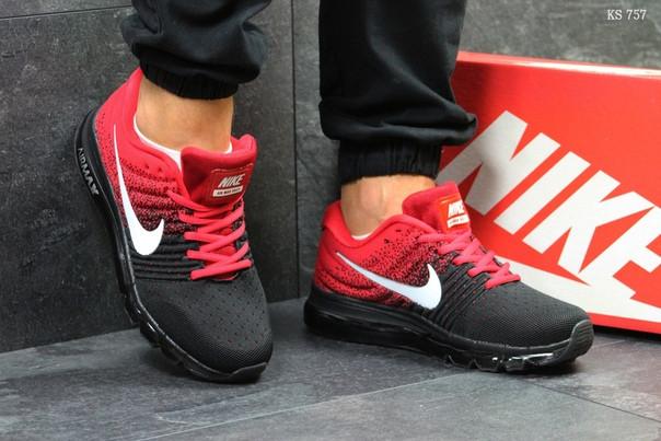 Мужские кроссовки Nike Flyknit Air Max (красно-черные) - Интернет-магазин