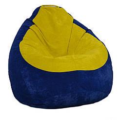 Безкаркасне крісло мішок Флок PufOn, L, Синій, Жовтий