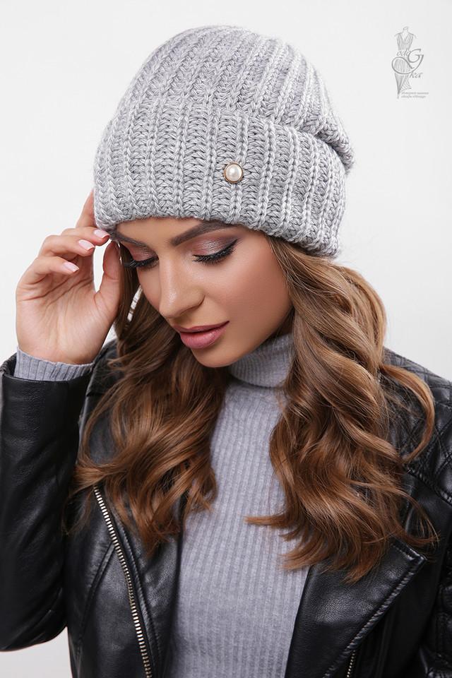 Цвет темно-серый Вязаных женских шапок Грай
