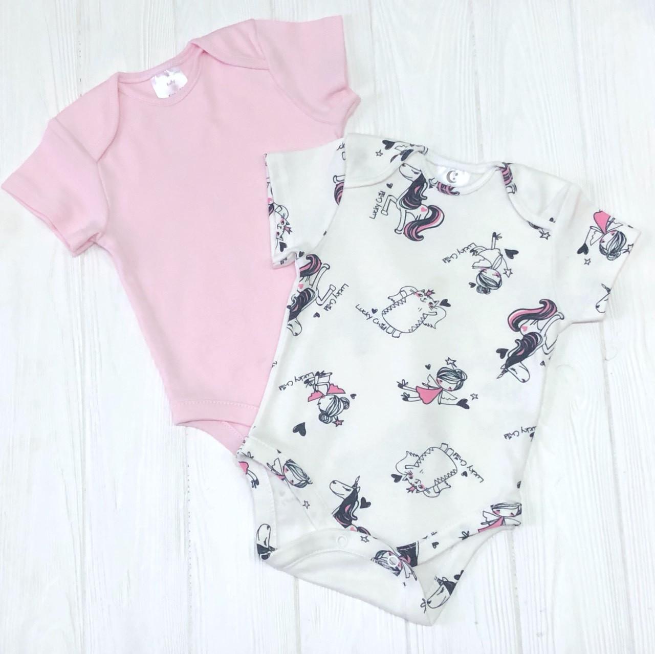Комплект из двух боди с коротким рукавом  для маленькой принцессы Счастливый ребенок+розовый