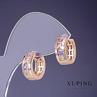 """Серьги Xuping с разноцветными камнями 15х6мм """"позолота 18К"""""""