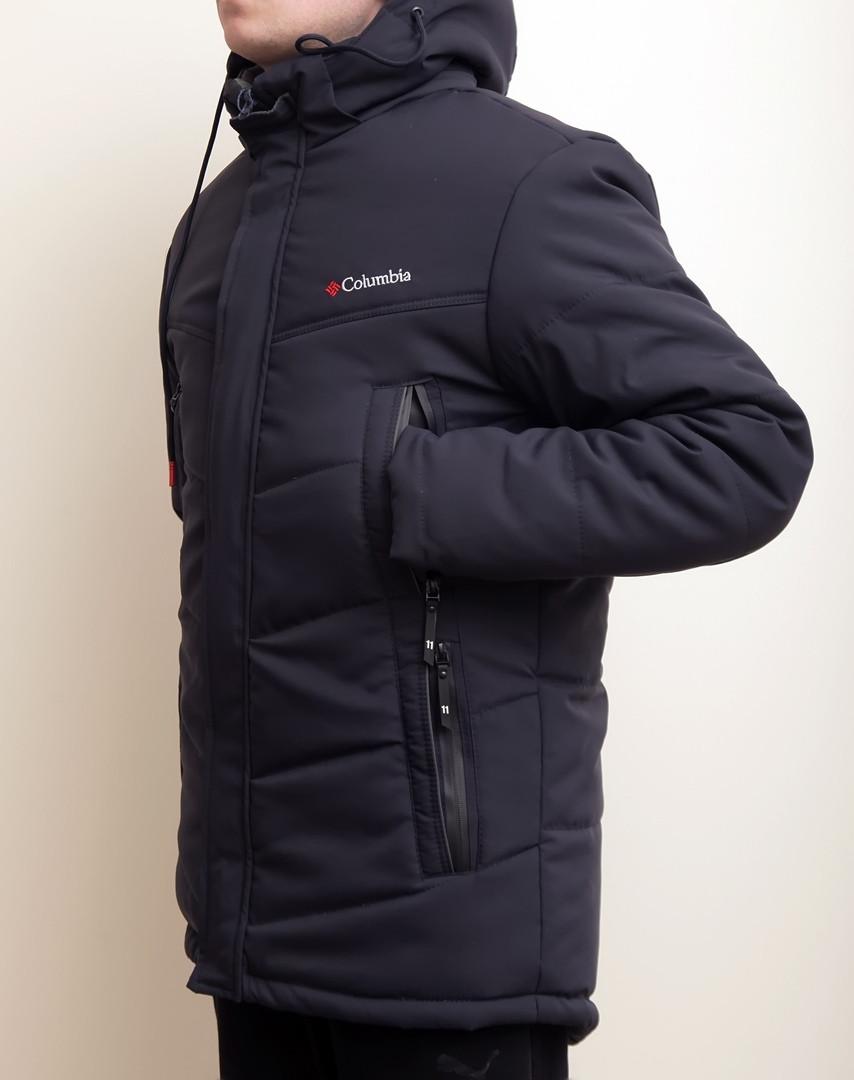 Зимняя мужская куртка Columbia темно-синяя с теплым капюшоном - Интернет- магазин обуви и c22813cbda70d