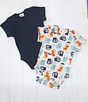 Комплект из двух бодиков с коротким рукавом для мальчика Котики+т.син, фото 2