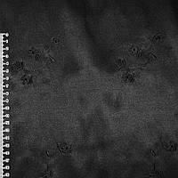 Коттон атлас черный с черными вышитыми цветами ш.145 (10101.001)