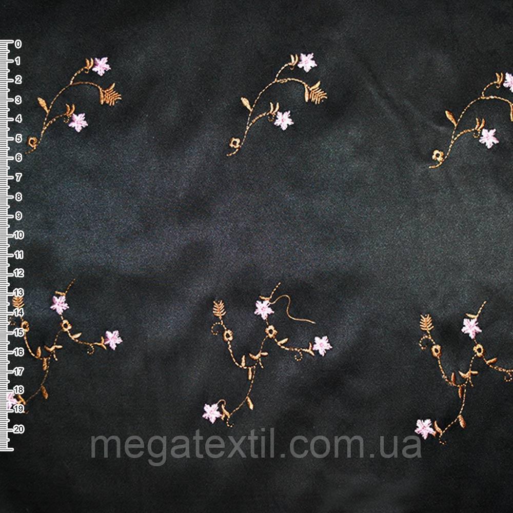 Котон атлас черный с разноцветным вышитыми цветами ш.145 ( 10101.002 )