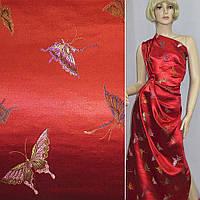 Шелк восточный красный, бабочки (10102.004)