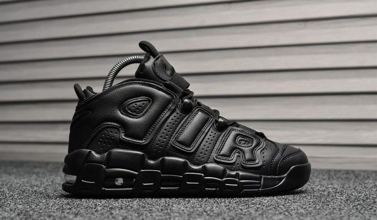 "Кроссовки Nike Air More Uptempo Leather ""Triple Black"" (Черные)"