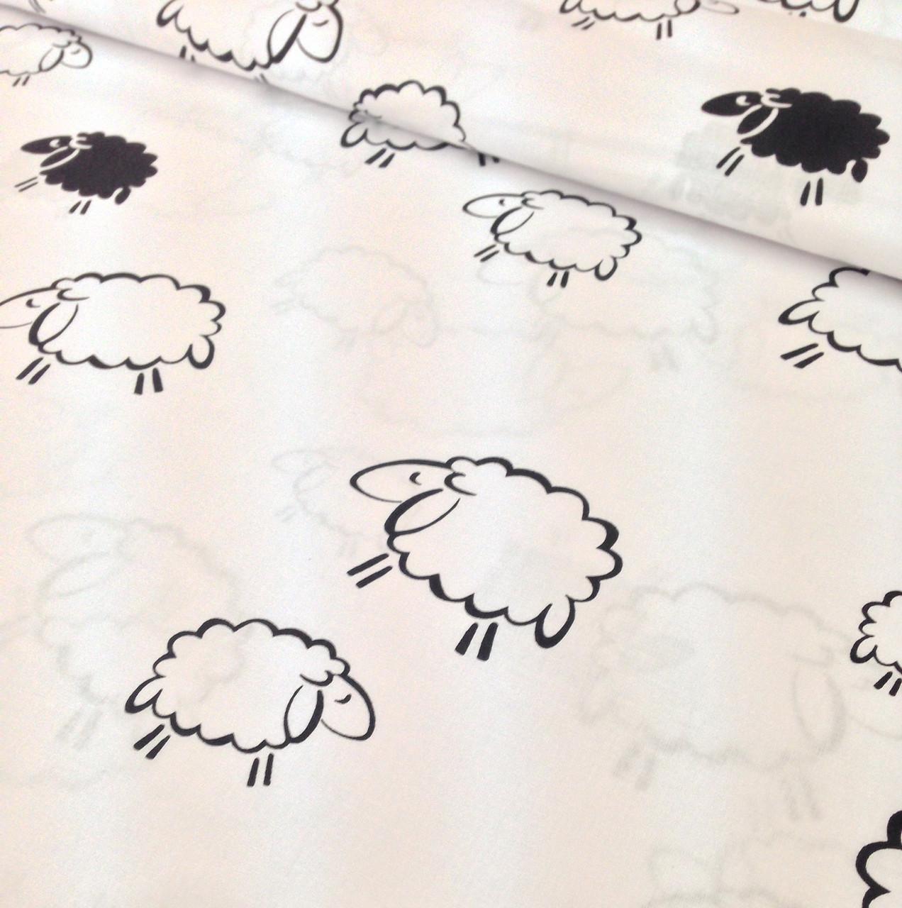 Хлопковая ткань польская овечки черно-белые ОТРЕЗ (размер 2,9*1,6 м)