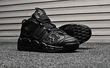 "Кроссовки Nike Air More Uptempo Leather ""Triple Black"" (Черные), фото 2"