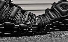 "Кроссовки Nike Air More Uptempo Leather ""Triple Black"" (Черные), фото 3"
