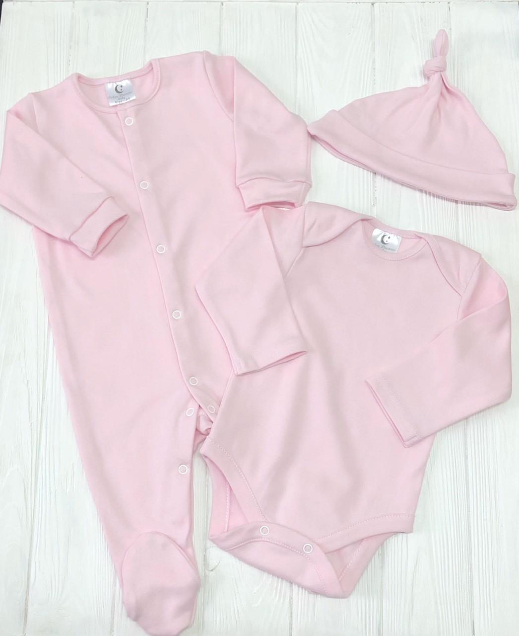 Детский комплект из трех предметов(боди+шапочка+комбинезон) нежного  розового цвета